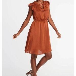 Copper silky flutter sleeve dress